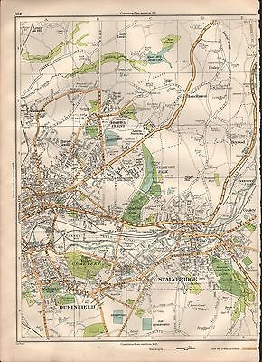 1935 Lancashire Large Scale Map - Stalybridge Dukinfield Smallshaw Copley Hazelh