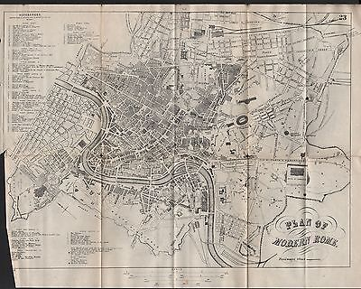 1890 Ca ANTIQUE TOWN PLAN - MODERN ROME, ITALY