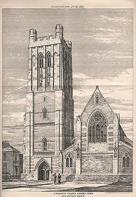 1881 Antique Architectural Print- London- St Michael's Church, Camden Town