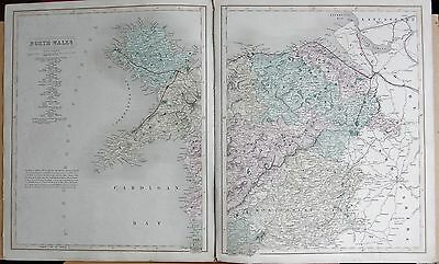 1845  Large Antique County Map - Railways, North  Wales, 2 Maps, Anglesey Welshp