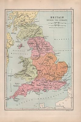 1875 Antique Map - Britain Under The Romans
