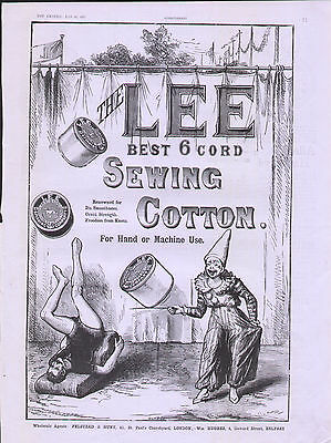 1887 Advert The Lee Sewing Cotton Circus Clown Acrobat Juggling