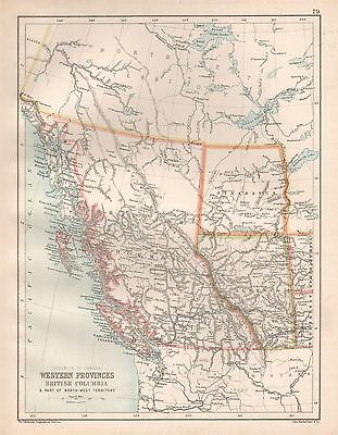 1900 Large Map Western Provinces, British Columbia & Part Of North West Territor