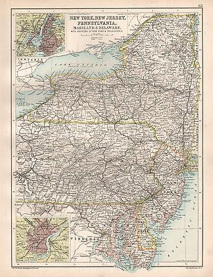 1900 Large Map New York, New Jersey, Pennsylvania, Maryland And Delaware