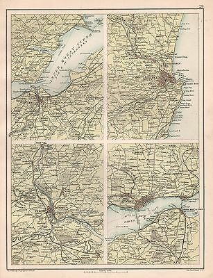 1900 Large Map 4 Regions, Inverness, Aberdeen Perth, Dundee Scotland 4 Images On