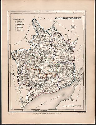 1848 Antique County Map - Wales Monmouthshire Newport Usk Abergavenny Monmouth