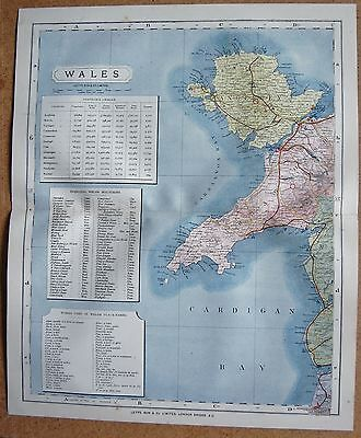 1884 Letts's County Map Wales, Anglesey Caernarvon