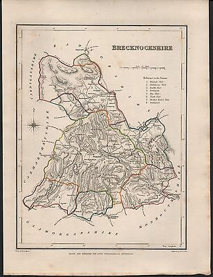 1848 Antique County Map - Wales Brecknockshire Crickhowell Hay Brecknock
