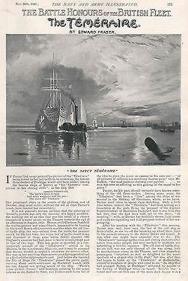 1896 Military Print :article, Battle Honours Of The British Fleet, The Temeraire