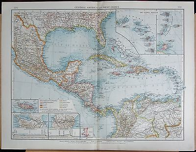 "1900 ""times""  Large Antique Map - Central America And West Indies Insets, Antill"