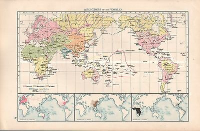 """1900 """"times""""  Large Antique Map - Religions Of The World"""
