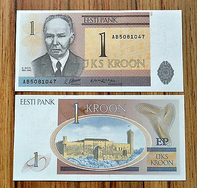 Estonia  1 Kroon 1992 P-69 UNC BANKNOTE PAPER MONEY EUROPE CURRENCY  K. RAUD
