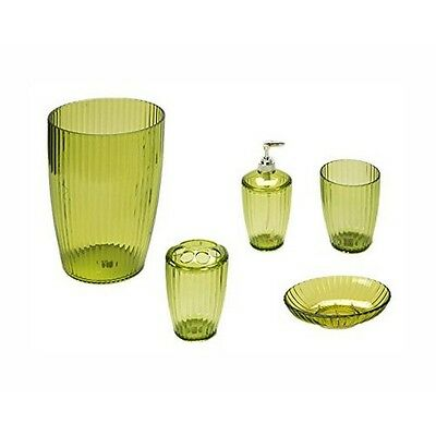 Carnation  Home Fashions Palm Green, Ribbed 5 Piece Acrylic Bath Accessory Set