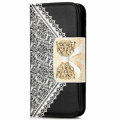 Women Style Black PU Leather Wallet Case Cover For iPhone 5/5s{{k73