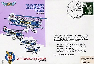 1974 Gaydon Rothmans Aerobatic Team Raf Ad/5 Fdc From Collection L5