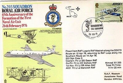 1976 203 SQUADRON 1st NAVAL AIR UNIT 65th ANNIV. R.A.F. FDC FROM COLLECTION L8