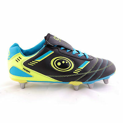 Optimum Tribal Rugby Boot Black/Blue/Yellow sz 13