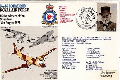 1975 46 Squadron Disbandment Of The Squadron R.a.f. Fdc From Collection L12