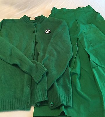 Lot Girl Scouts Green Skirts Sweater Size Medium