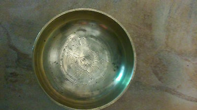 "SMALL CHINESE BRASS BOWL  FLORAL DESIGN 4 1/2"" Diameter, 1"" tall"