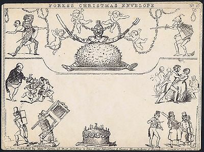 1890 Fores Christmas Envelope No 10 Unused Mulready Caricature by Deraedemaeker