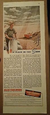 1943 Allis Chalmers Place in the Sun Tractor Harvest Ad