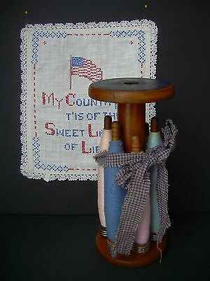 Antique Wood Bobbin Spools & Thread With Larger Spool~Country Ribbon~Primitive