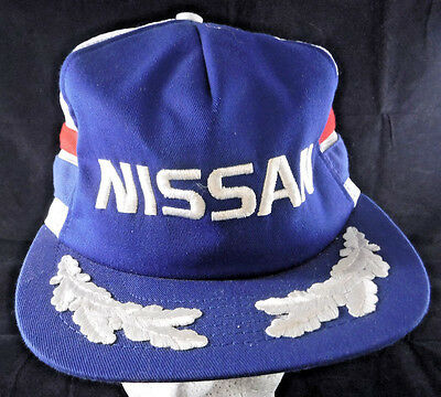 Vintage Nissan Embroidered Snapback Truckers Mesh Cap Hat - Red White & Blue