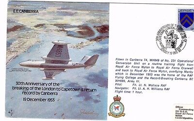 1983 E.E.CANBERA LONDON TO CAPETOWN 30th ANNIV. RAF B40 FDC FROM COLLECTION M16