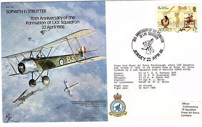 1986 SOPWITH STRUTTER LXX SQDN 70th ANNIVERSARY RAF B5 FDC FROM COLLECTION M18