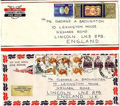 India Airmail Covers X2 From Collection K12