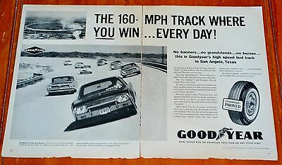 1961 LINCOLN PONTIAC CHRYSLER ON RACE TRACK FOR GOODYEAR TIRES LARGE AD - 1960s