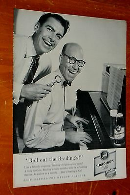 1957 Bradings Ale Beer Guys Piano Canadian Ad + White Rose Gas Station On Back