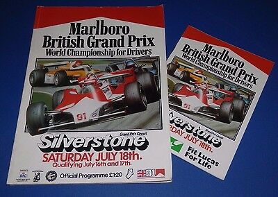 Silverstone - British Grand Prix programme and racecard 1981