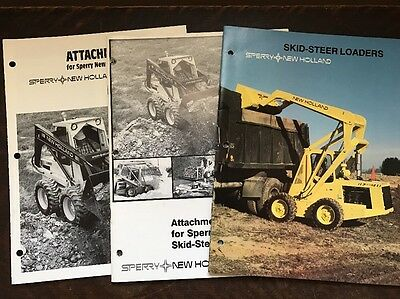 3 Vintage Sperry New Holland Skid Steer Loaders Attachments Brochures Ads