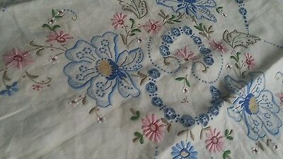 """Vintage Madeira embroidery cut out tablecloth  50""""×50"""""""