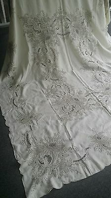 """Vintage elaborate embroidery cut out  linen tablecloth 81""""×62"""""""