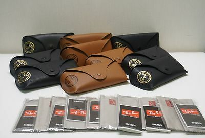 LOT of 10 Ray Ban Case BROWN & BLACK Leather Sunglasses & Eyeglasses  Authentic