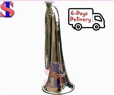 Royal Military Bugle Nickle finish Vintage Instrument Military Signal Trumpet