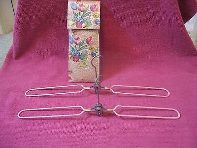 Two Retro Vintage Folding / Travel Metal Clothes / Coat Hangers in Floral Case