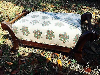 Antique Vintage  Floral Foot Stool Carved Wood Mahogany Furniture