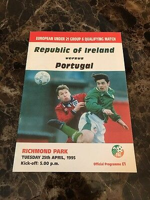 European U21 Qualifying Rep of Ireland Vs Portugal 25/04/1995 Official Programme