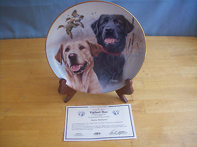 Danbury Mint Vigilant Duo Labrador Lab Collector Plate With COA And Stand