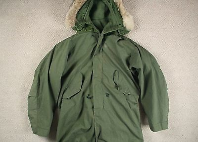 VTG 80s US ARMY M-65 MODIFIED FISHTAIL PARKA JACKET A-1 COYOTE HOOD LONG SMALL