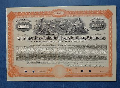 Chicago, Rock Island and Texas Railway Co., unissued reg gold bond, dated 19--.