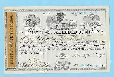 Little Miami Railroad Company, share certificate dated 1875.