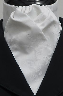 Ready Tied White Leaf Jacquard Dressage Riding Stock - Hunting Dressage Show Tie