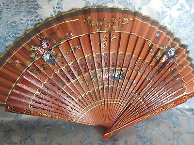 Antique Hand Fan Pierced/Carved Lacquered Red Wood Painted Silk Gold Signed
