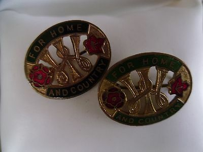 2 'For Home and Country' Badge/Brooch Collectables Vintage