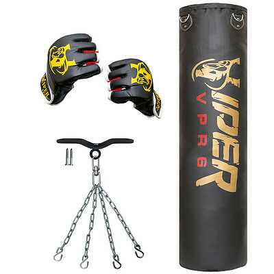 5ft Boxing Punch Bag Filled Chains Gym Kick Mma Ceiling Hook Training Club Viper
